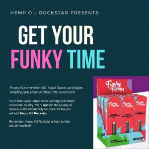 Funky Farms Frosty Watermelon OG Cartridge (Hybrid): Vape Juice with CBD