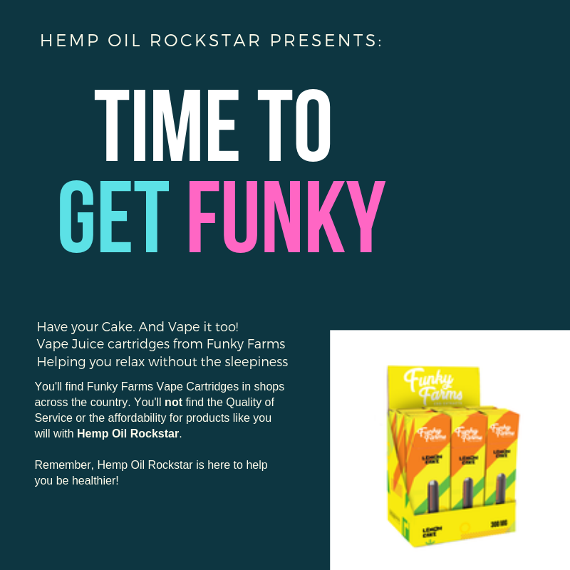 Funky Farms Vape Juice Cartridge in Lemon Cake with CBD Hemp Oil
