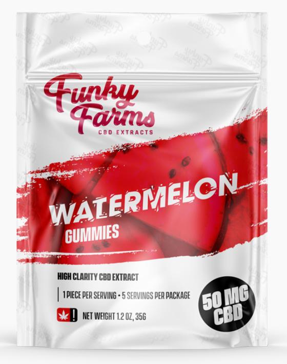 Funky Farms CBD: Watermelon Gummies featuring 10mg of CBD in EACH Gummy!